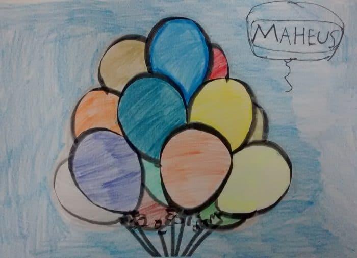 balões desenho aluno matheus feito no Educação Artística Infantil